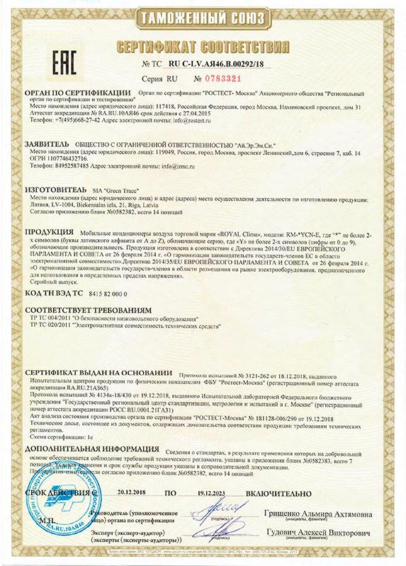 Сертификат соответствия мобильные кондиционеры