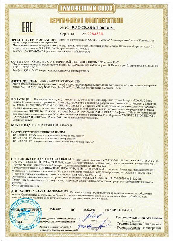 Сертификат соответствия полупромышленные сплит-системы