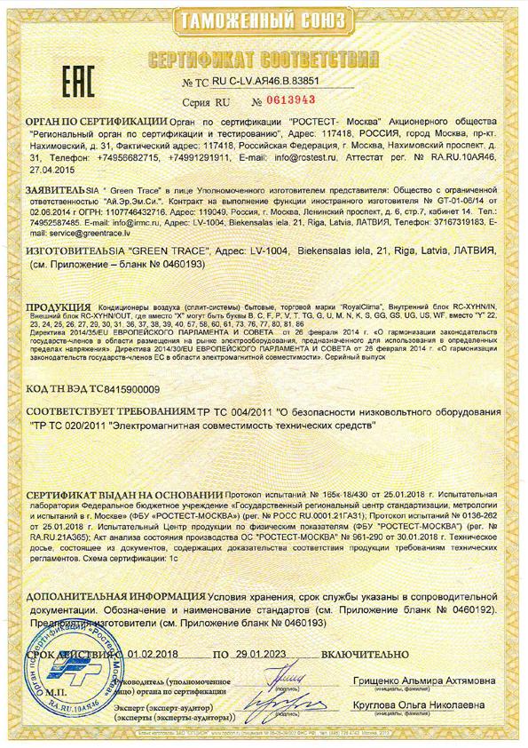 Сертификат соответствия ROYAL Clima